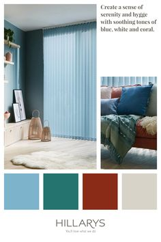 Create a sense of serenity and hygge with soothing tones of blue, white and coral, pair with beautiful Fletcher Blue Vertical Blinds. View our range of Vertical Blinds. Stairs In Living Room, Living Room Blinds, House Blinds, Blue Roller Blinds, Blue Roman Blinds, Blue Vertical Blinds, Striped Room, Blue Interiors, Light Blue Background