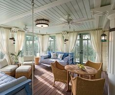 Facing the dune, the children's screen porch, on the first floor, is enclosed by French doors. Because the dune obscures sea views, the architects inverted the typical order of the floors. Above the children's wing are the public rooms; the master suite is on the top floor.
