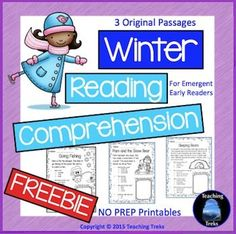 Winter Reading Comprehension Freebie has three simple winter themed reading passages, suitable for beginning readers. This freebie is part of my Winter Reading Comprehension Pack, a set of 20 reading passages for emergent and early readers, available here:   Winter Reading Comprehension**Check out my new Seasons Reading Comprehension BUNDLE and save 20% (50% for the first 48 hours!).