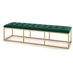 Estevan Velvet Bench (Dark Emerald) ❤ liked on Polyvore featuring home, furniture, benches, emerald home furniture, emerald green furniture, emerald furniture, velvet bench and velvet furniture