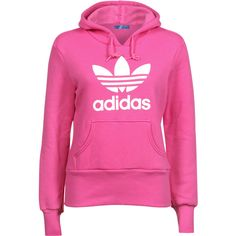 Adidas Trefoil W hoodie ❤ liked on Polyvore featuring tops, hoodies, shirts, jackets, sweaters, pink top, sweatshirts hoodies, shirts & tops, adidas hoodies and shirt hoodies