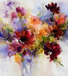 Dillman's Creative Art Workshops - 2014 - watercolor by Janet Rogers Arte Floral, Abstract Flowers, Watercolor Flowers, Watercolor Artists, Watercolour Paintings, Flower Paintings, Painting Art, Creative Art, Flower Art