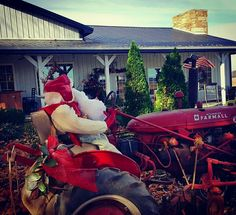Santa came to eat at Adam's Breezy Hill Farm Restaurant.  He decided to drive his tractor and give his reindeer the day off.