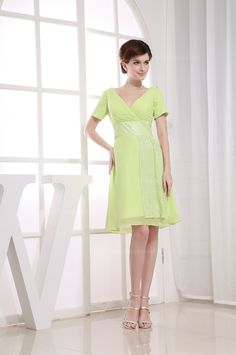 Short sleeves bridesmaid dress with deep V-neck in both front and back