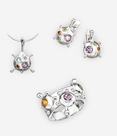 The Aliens jewellery collection features an out of this world abstract drop design set with small amethyst, citrine, peridot, and blue topaz gems.  https://zanfeldjewellery.com/product-tag/aliens-collection/