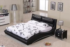 black leather wood bed frames with boxspring | -bedroom-Confortable-Black-leather-headrest-Bed-solid-Wood-Frame ...