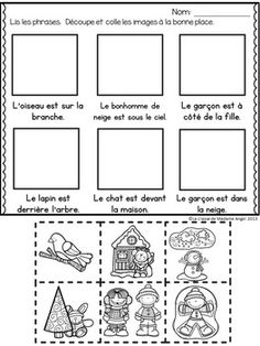 Prepositions (winter): Winter Themed French Preposition mini-unit - The prepositions (winter): Winter Themed Preposition mini - French Language Lessons, Spanish Language Learning, French Lessons, Spanish Lessons, Core French, French Class, French Teacher, Teaching French, French Prepositions