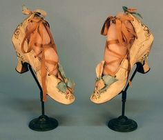 Ladies' highback embroidered shoes, 1880s.