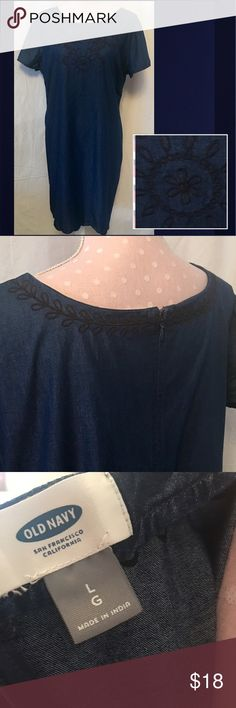 Old Navy Denim Embroidered Shift Dress Denim Embroidered Shift Dress from Old Navy. Dark Denim with Navy Blue Embroidery around neck line. Short Sleeve. Scalloped Embroidered Hem Old Navy Dresses