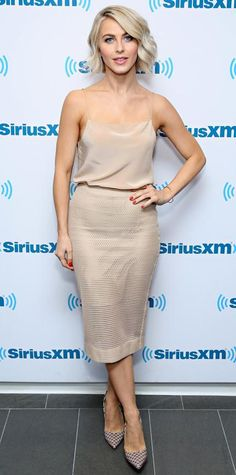 Julianne Hough struck monochromaticism at the SiriusXM Studios in a nude Reed Krakoff cami that she tucked into a matching nude perforated pencil skirt that she styled with Jennifer Fisher and Monica Vinader jewelry and printed Kurt Geiger pumps.