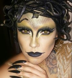 "Mars V. on Instagram: ""My take on medusa.. I used  @anastasiabeverlyhills shadows in Emerald, LBD &Metallic. @bhcosmetics 120 pallet. Snakes and the tubes i got…"""