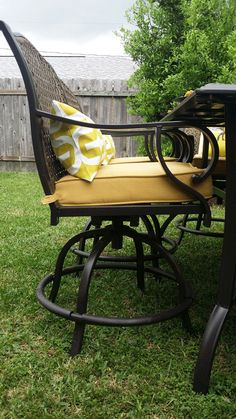 That's a chair from the sturdy and attractive Vichy Springs 7-piece patio dining set. Whitney Jones, who writes the blog at Whitney J Decor, chose that outdoor set for her Patio Style Challenge backyard makeover. See it on The Home Depot Blog. || @whitneyjdecor