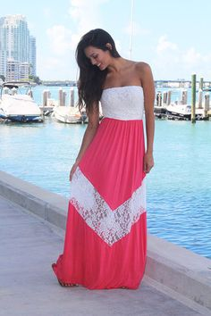 Coral and Ivory Chevron Maxi Dress with Lace