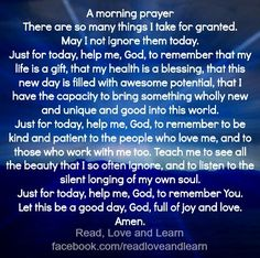 Not Just For Today Lord! Everyday