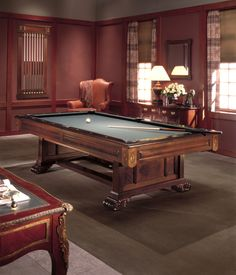 The Windsor Table By Brunswick Offers Classic Style With Beautiful Paneled  And Carved Wood. Perfect For Home Or Office Game Rooms.