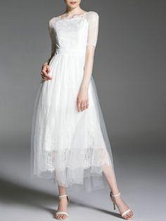White Two Piece Half Sleeve Midi Dress