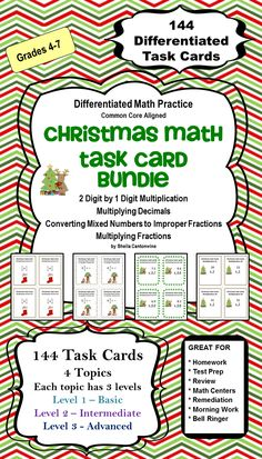 This Christmas Task Card Bundle features 144  differentiated Task Cards with a Christmas theme.  Topics include 2 digit by 1 digit multiplication, Multiplying Decimals, Multiplying Fractions, and Converting Mixed Numbers to Improper Fractions.  Each of the 4 Topics has 3 levels of problems so you can differentiate by student or class.  Great for homeschooling families too!