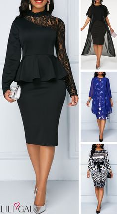 New arrived chic dresses for women, features black peplum lace, asymmetrical chiffon overlay, and high waisted geometric prints Shop more 2019 women's fashion trends at Liligal is part of Black dress style - Dress Outfits, Fashion Outfits, Women's Fashion, Fashion Trends, Dresses Dresses, African Fashion Dresses, African Dress, Chic Dress, Classy Dress