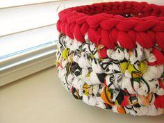 Rag Bowl Crocheted-Multicolored-Repurposed-Crochet by RoseJasmine
