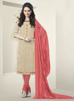 Beige Churidar Suit Bulk Collection With Georgette Febric