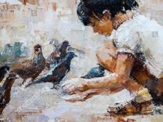Girl Feeding Pigeons Photographic Print on Canvas East Urban Home Painting For Kids, Painting Prints, Art Prints, Stürmische See, Canvas Art, Canvas Prints, Canvas Pictures, Conceptual Art, Box Art