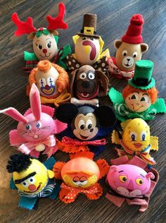 Charlene Goodman, of Painesville, Ohio, made these character eggs.
