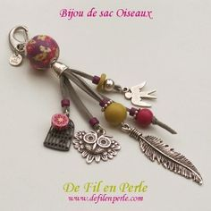 Bijou de sac Oiseaux Diy Jewelry, Beaded Jewelry, Jewelery, Handmade Jewelry, Jewelry Making, Beaded Bracelets, Diy Keychain, Diy Schmuck, Bijoux Diy