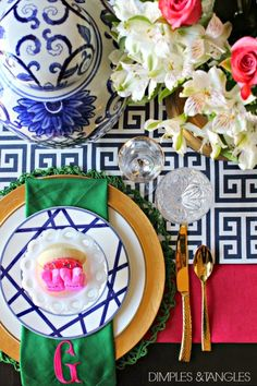 Easter Table Setting || Spring Tablescape || Mikasa Cadence plates and Serentity Gold flutes || blue and white || monogrammed napkins