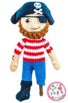Free Crochet Pattern for an Amigurumi Pirate. Free Pattern More Patterns Like This! Doll Amigurumi Free Pattern, Doll Patterns Free, Crochet Toys Patterns, Knitted Dolls, Crochet Dolls, Crocheted Toys, Crochet Gratis, Free Crochet, Diy Toys Sewing