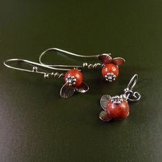 Cranberry Sterling Silver Earrings Handmade Metalwork via Etsy.