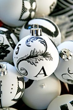 Black and White Christmas Ornaments @Andrea Black and White Obsession - thought of you :)