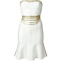 Hervé Léger chain embellished bandage dress