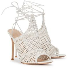 Gianvito Rossi Allyson Off White Woven Leather Sandals (€435) ❤ liked on Polyvore featuring shoes, sandals, heels, leather shoes, high heel shoes, wrap around sandals, woven leather shoes and heeled sandals