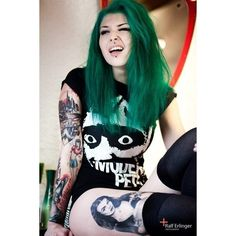Tattoos Punk Girl ❤ liked on Polyvore featuring accessories, hair, girls, people and tattoo