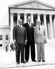 Thurgood Marshall, center, argued the Brown v. Board case against segregated schools, with George E.C. Hayes (left) and James M. Nabrit, two other lawyers who also led the fight for integrated classrooms. Marshall later became the first African-American Supreme Court justice.
