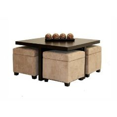 Cube Coffee Table with 4 Storage Ottomans - Club Coffee Table with 4 Storage Ottomans Chocolate and Beige I.club Coffee Table with 4 Storage Ottomans Chocolate and Beige I. Coffee Table With Seating, Cube Coffee Table, Storage Ottoman Coffee Table, Ottoman Table, Coffee Tables, Coffee Table With Stools Underneath, Table Storage, Space Saving Furniture, Home Furniture