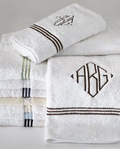What if we do Art Deco monogram towels - because then the girls can have their own too ☺                                                                                                                                                                                 More