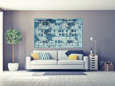 Whether it's on the floor or a wall, a rug is an accessory just like an ottoman or side table. It should complement the space, not completely take over. Ottoman, Your Style, Colours, Flooring, Texture, Rugs, Space, Wall, Modern