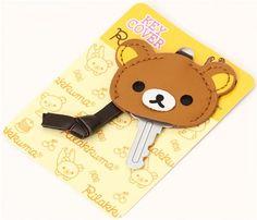 brown Rilakkuma bear artificial leather key cover charm