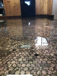 Penny floor complete by our resin workshop! Gorgeous shine, and unparalleled charm!