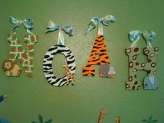 Jungle themed letters for bedroom. Jungle Theme Nursery, Safari Room, Jungle Bedroom, Safari Theme Party, Big Boy Bedrooms, Baby Boy Rooms, Kids Bedroom, Bedroom Themes, Nursery Themes