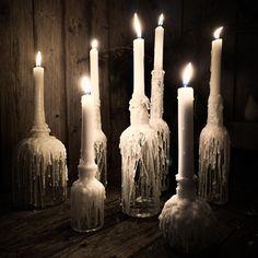 """DIY, Deko, Garten & Mee(h)r on Instagram: """"꧁[ᖴᖇOᔕTY]꧂] ...ich warte ja immer noch auf Schnee hier an der Küste. Und wenn er dann mal da ist, dann passen meine frostigen…"""" Candles, Instagram, I Wait For You, Snow, Pillar Candles, Lights, Candle"""