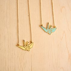 paper crane necklaces
