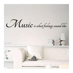 """Vinilo decorativo de texto con la frase en inglés """"Music is what feelings sound like"""". Pegatinas o stickers de paredes con frase en inglés sobre la música"""