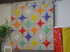 Star gazer quilt on display at Cool Cottons in Portland, Oregon. Love the fabrics. Modern Fabric, Japanese Imports, Cool Stuff, Echino, Fabric, Cotton, Modern