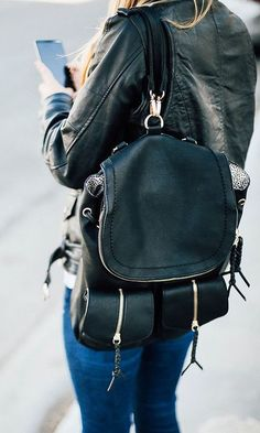 Black Backpack with Front Pockets