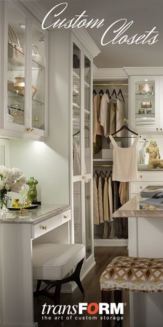 transFORM creates custom built-in interiors with a focus on design, customization and quality. transFORM& installations are proudly Made in New York. See more in our catalog and get inspired to create your own one-of-a-kind design for your home. Armoire Dressing, Dressing Room Closet, Dressing Rooms, Closet Vanity, Closet Mirror, Beautiful Closets, Master Bedroom Closet, Master Suite, Custom Closets