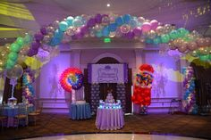 Candy Themed Backdrop with Whirly Pop & Gumball Machine Balloon Sculptures & Lights at The Rockleigh Bat Mitzvah Themes, Bat Mitzvah Party, Balloons And More, Colourful Balloons, Bat Mitsvah, Gumball Machine, Backdrops For Parties, Ballon, Party Guests
