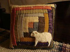 Primitive Sheep On Log Cabin Quilt Pillow