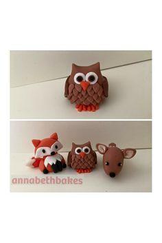 Fondant cake topper - owl, fox, deer, woodland themed